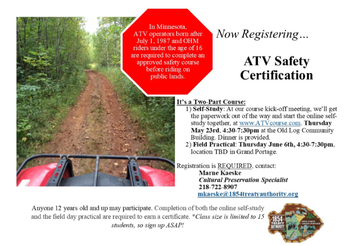 1854 hosts ATV Safety Certification in Grand Portage