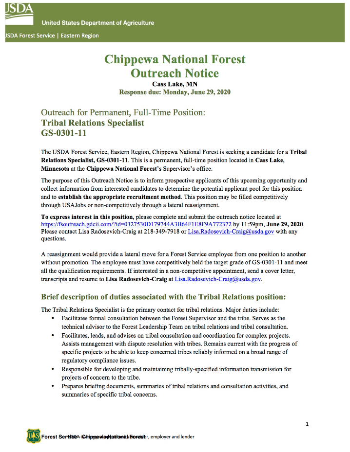 Tribal Relations Specialist Vacancy, Chippewa National Forest