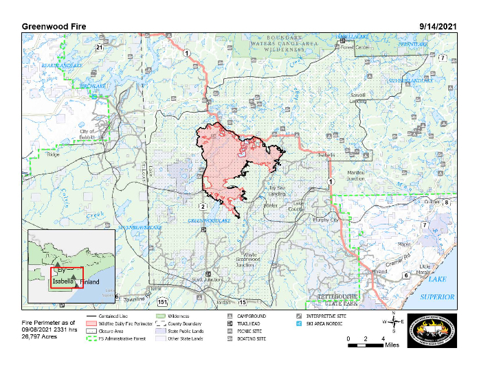 Superior National Forest Wildfire Updates, week of 9/13-17/2021